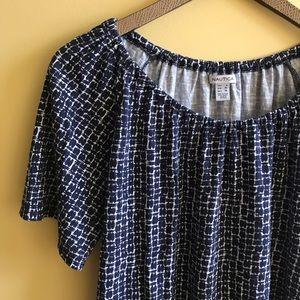 Nautica blue wide neck short sleeve drape top